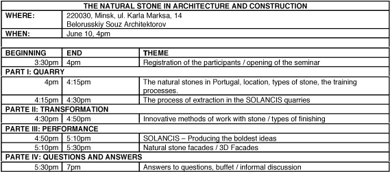 Seminar: Natural Stone In Architecture And Construction