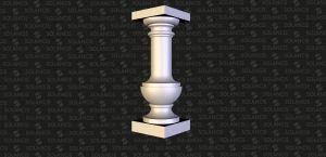 Desenho 3D de balaústre em pedra natural