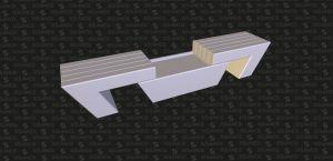 Desenho 3D de banco em calcário